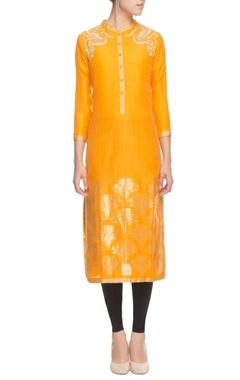 Orange silk floral embroidered kurta