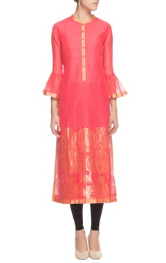 Coral floral kurta with bell sleeves and floral prints