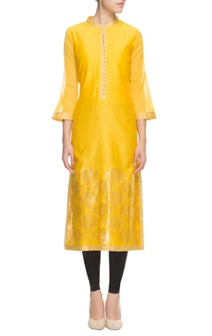 Sunset yellow kurta with bell sleeves and floral prints