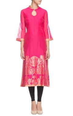 Pink floral printed kurta with bell sleeves