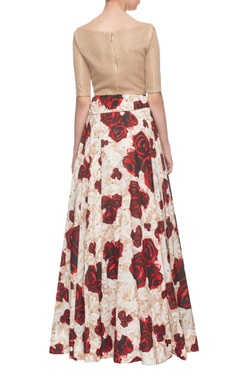 Beige crop top with flared rose printed skirt