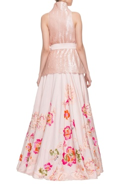 Dusky pink sequin wrap top with embellished skirt