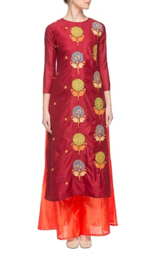 maroon & orange embroidered kurta set