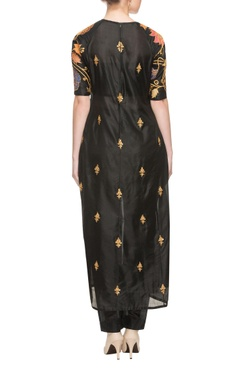 Black silk embroidered kurta with bottoms