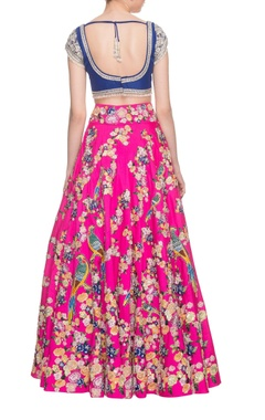 hot pink & royal blue embellished lehenga set