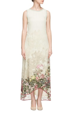 Varun Bahl Off-white & green printed high low dress