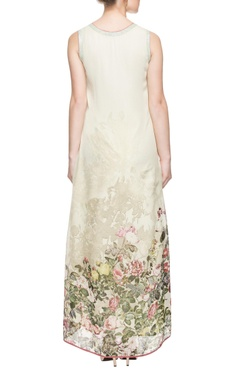 Off-white & green printed high low dress