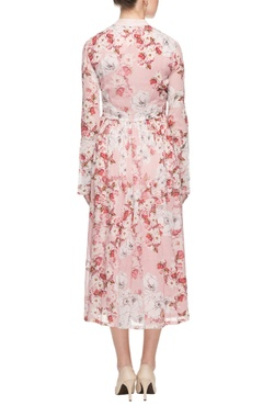 pink floral print dress with pleats