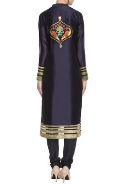 midnight blue peacock applique work kurta set