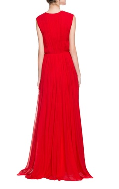 Red deep neck gown with 3D embellishments
