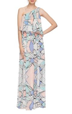 White one shoulder geometric printed maxi dress