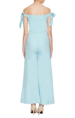 pastel blue off shoulder jumpsuit