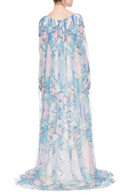 Blue & white geometric printed kaftan gown