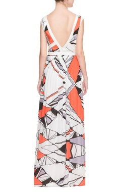 white geometric printed gown
