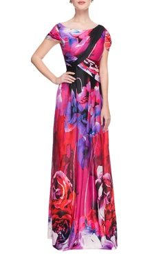 multi-colored floral printed gown