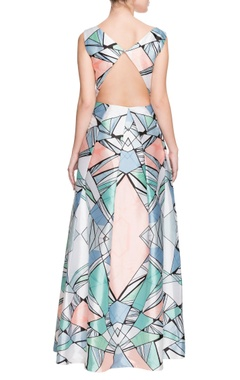 multi-colored geometric printed gown