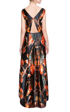 black printed high-low gown
