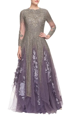 purple gown with embellishments