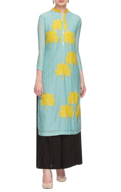 sky blue & yellow floral applique tunic