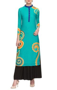Aqua floral motif applique tunic