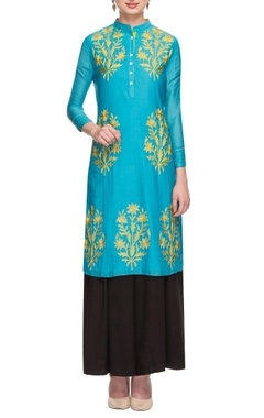 aqua & gold floral embroidered tunic