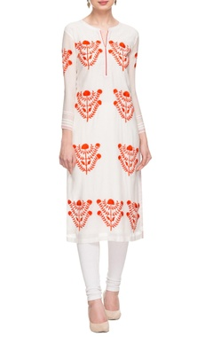 white & orange floral embroidered tunic