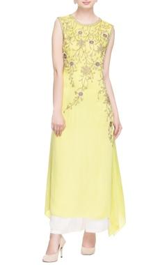 Pastel yellow zipper embroidered kurta & palazzo