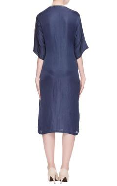 Navy blue zipper embroidered dress