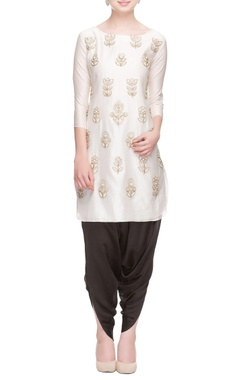 White zipper embroidered kurta with black cowl pants