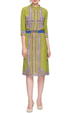 Parrot green printed dress with waistband