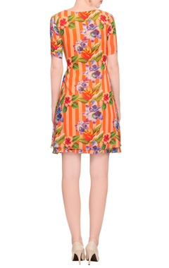 Orange & peach striped & floral print dress