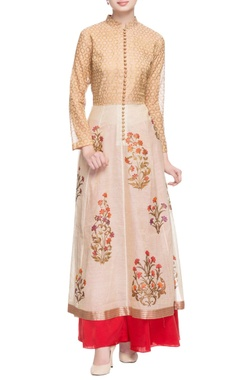 Off-white & gold printed kurta with button details