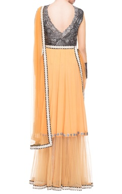 light orange layered & embellished dress with drape