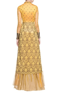 yellow printed & kurta with skirt