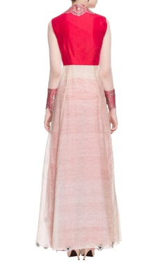 off-white & red high low embellished kurta with palazzos