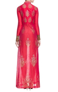red sequin embellished front slit kurta