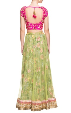 Pink and green floral lehenga set