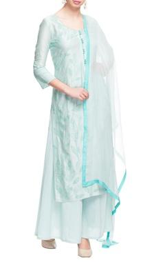 Pastel blue embroidered kurta set