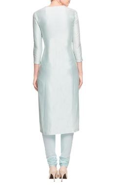 Ice blue kurta set with beige motif