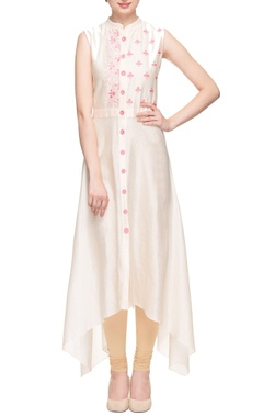 Peach high-low embroidered kurta