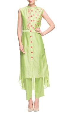 Green & pink high low kurta with pants