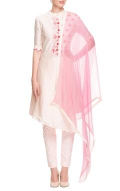 White & pink high low kurta set