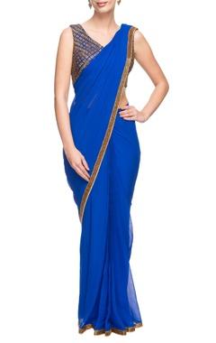 Cobalt blue sari with gold work blouse