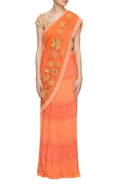 Orange & peach layered embellished sari