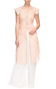 Light peach kurta with embroidered sleeves