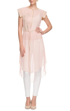pastel pink embroidered draw string kurta