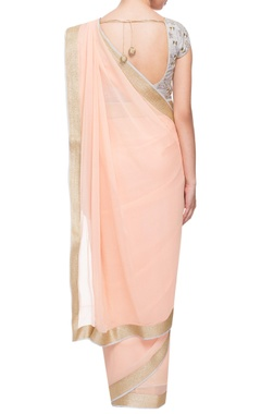 peach & gold sari with embellished blouse
