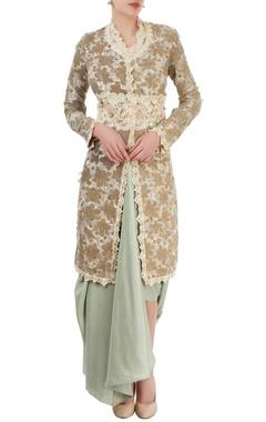 Ivory embroidered kurta & pastel blue dhoti skirt