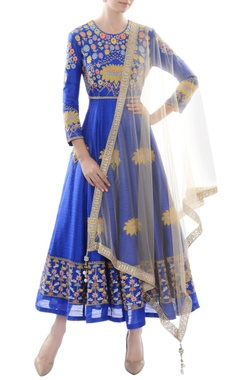 Royal blue embroidered anarkali with dupatta