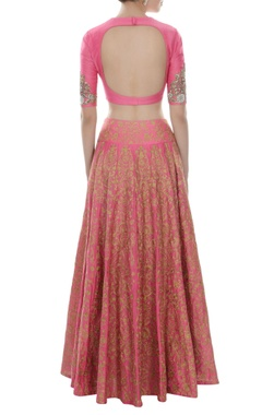 Pink & gold floral embroidered lehenga set